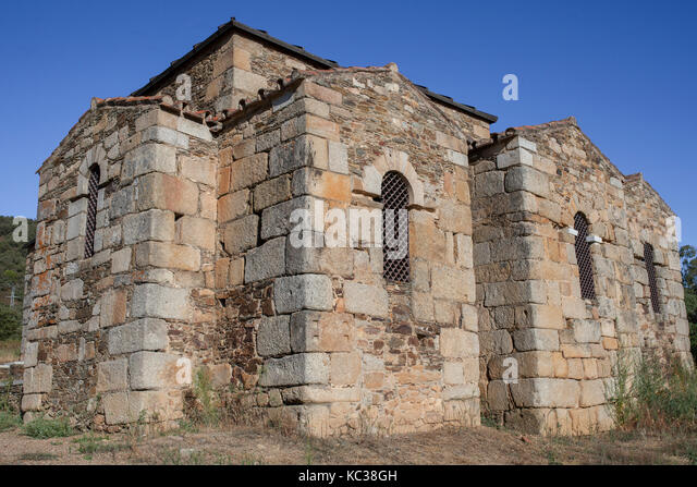 Visigothic Basilica of Santa Lucia del Trampal, Alcuescar, Spain. Chapels outdoors view - Stock Image
