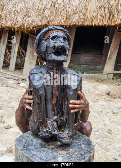 Wamena, Indonesia - January 23, 2015: Mummy presented by a member of the Dali tribe, near  Wamena town in the heart - Stock Image