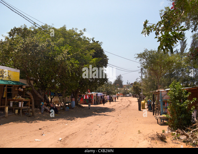 Roadside stalls in Ponta do Ouro, southern Mozambique. - Stock Image