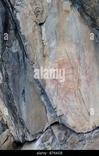 Bushman San rock paintings - Stock Image