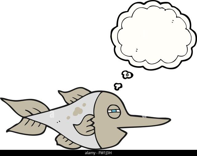 freehand drawn thought bubble cartoon swordfish - Stock Image