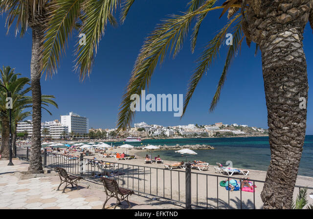 Platja de ses Figueretes, beach, Eivissa, Ibiza, Pityuses, Balearic Islands, Spain, Europe - Stock Image