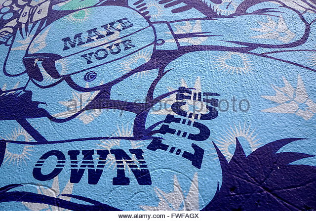 'Make Your Own Luck' Painted on a Wall, New York City, NY, USA - Stock Image