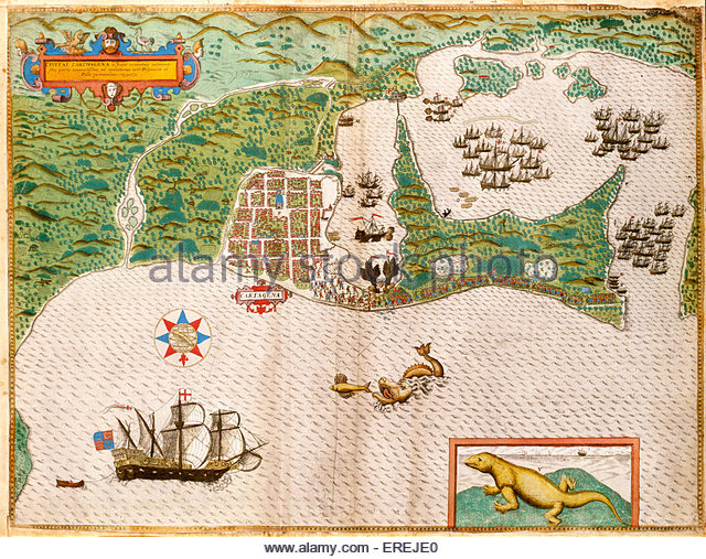 Attack on Cartagena - one of the largest naval campaigns in British history under Vice-Admiral Edward Vernon against - Stock Image