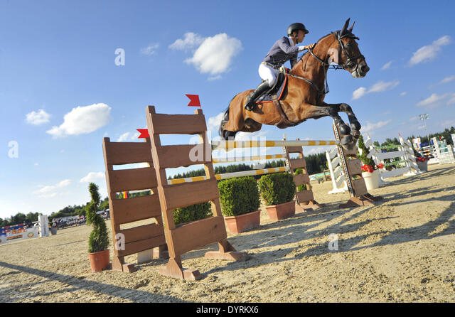 Qualification for Bavarian Championships in show jumping in Kirchstockach, 2012 - Stock Image