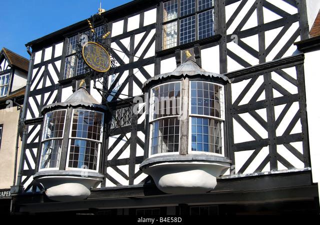 The Angel, Tudor House frontage, Broad Street, Ludlow, Shropshire, England, United Kingdom - Stock-Bilder