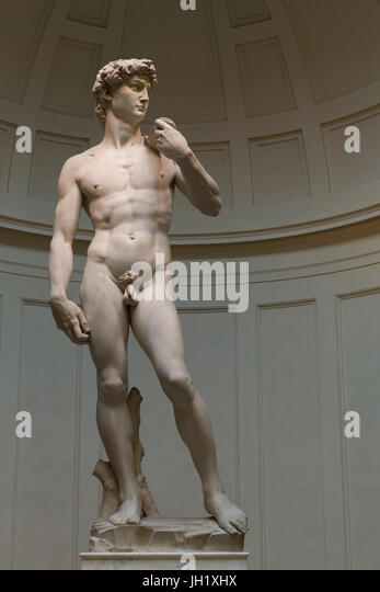 Marble Sculpture of David, by Michelangelo,   1501-1504, Accademia Gallery, Florence, Tuscany, Italy, Europe - Stock Image