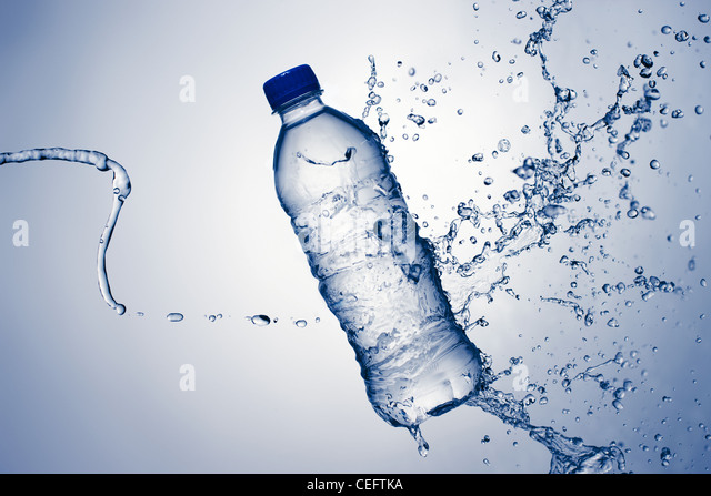 Bottled Water With A Splash - Stock Image