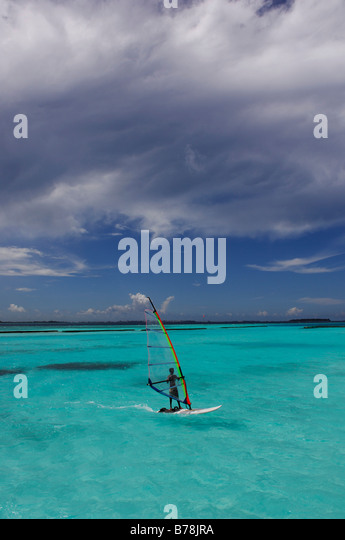 Windsurfer, Full Moon Resort, The Maldives, Indian Ocean - Stock Image