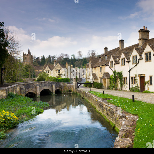 Picturesque Cotswolds village of Castle Combe, Wiltshire, England. Spring (April) 2009 - Stock-Bilder