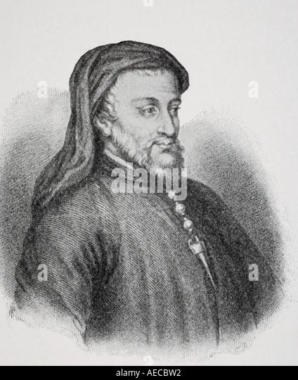 Geoffrey Chaucer c 1342 or 1343 - 1400.  English writer - Stock Image