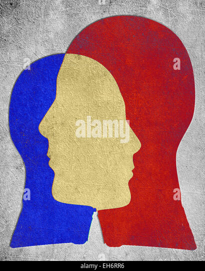 two colored head silhouette  psychology concept - Stock-Bilder