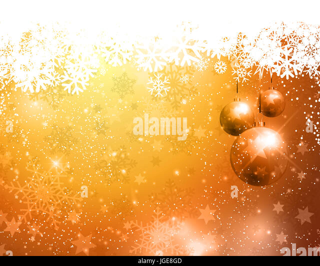 Golden Christmas background with hanging baubles - Stock Image