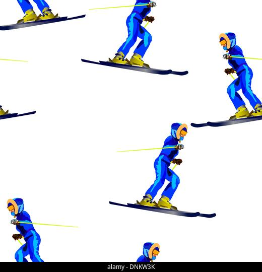 Seamless wallpaper patternr skier in a dark blue suit - Stock Image