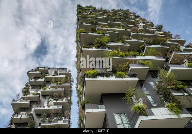 Bosco Verticale towers, Porta nuova district, Milan, Italy - Stock Image