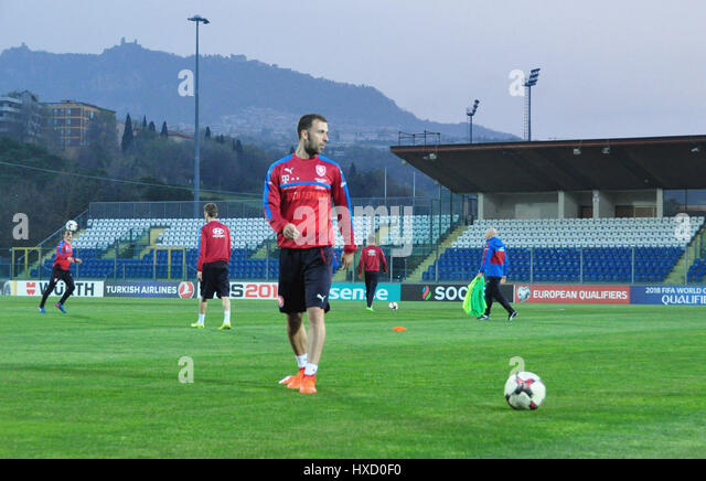 Czech national  football team player Josef Husbauer in action  during the training session in San Marino, March - Stock-Bilder