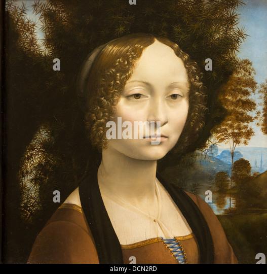15th century  -  Ginevra de Benci, 1474 - Leonard de Vinci Philippe Sauvan-Magnet / Active Museum - Stock Image
