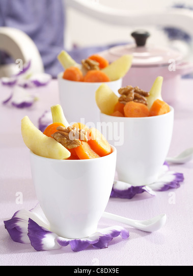 Carrot,potato,fennel and walnut Verrines - Stock Image