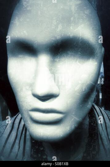 Head to a mannequin / cloathing doll in a shop. - Stock Image