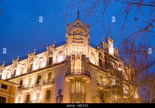 Mallorca Palma de Mallorca Placa Weyler art nouveau building by Lluis Domenech - Stock Image