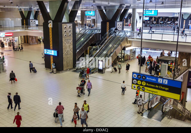 Johannesburg South Africa African O. R. Tambo International Airport inside terminal concourse - Stock Image