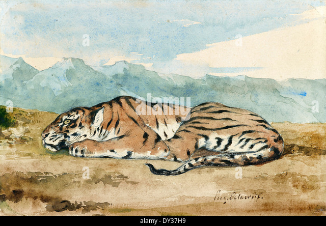 Eugene Delacroix, Royal Tiger 1800-1863 Watercolor. The Morgan Library and Museum. - Stock-Bilder