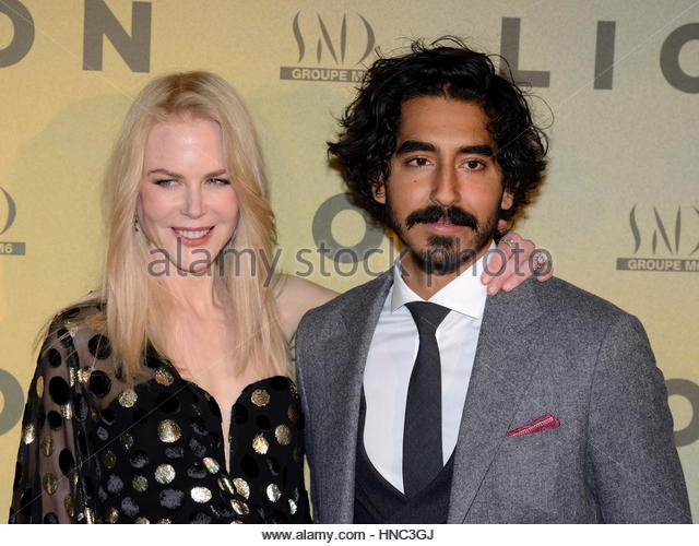 Paris, France. 10th Feb, 2017. Australian actress Nicole Kidman and British actor Dev Patel attend Lion premiere - Stock-Bilder