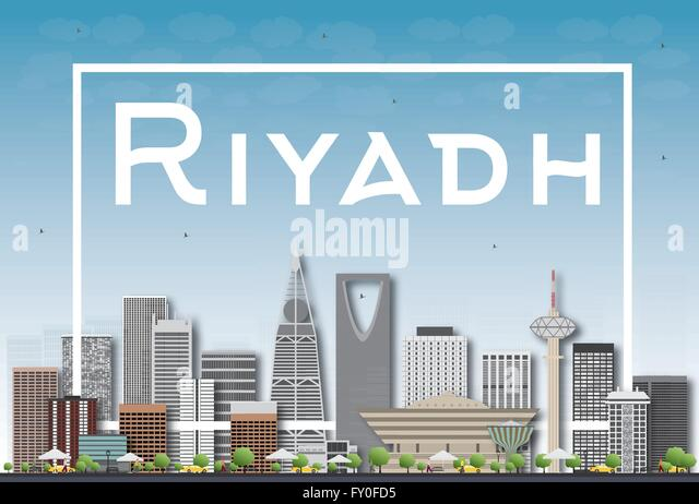 Riyadh skyline with gray buildings and white frame. Vector illustration. Business and tourism concept with skyscrapers. - Stock Image