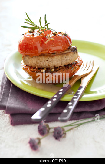 Caramelized Veal with Tomato - Stock Image