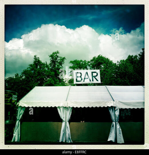 Empty Bar tent at music festival - Stock Image