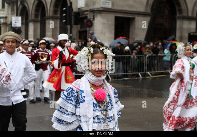 London,UK,1st January 2014,Dancers at the London's New Year's Day Parade 2014 Credit: Keith Larby/Alamy - Stock Image