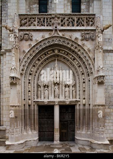 Poitiers, Sainte-Radegonde, Westportal - Stock-Bilder