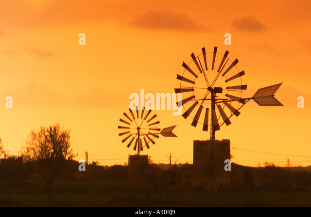 Mallorca wind mills at Sant Jordi valley at sunset - Stock Image