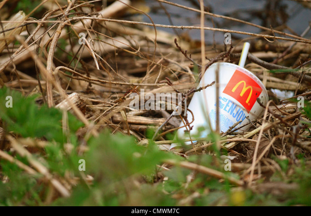 McDonalds drink cup amonst twigs and grass at the edge of a stream. - Stock Image