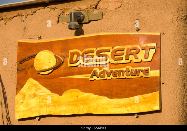Chile San Pedro de Atacama desert adventure sign - Stock Image