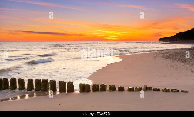 Sunset landscape at Baltic Sea, Pomerania, Poland - Stock Image