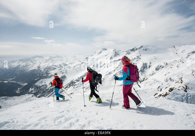 Mountain landscape skiing tour cross-country - Stock Image