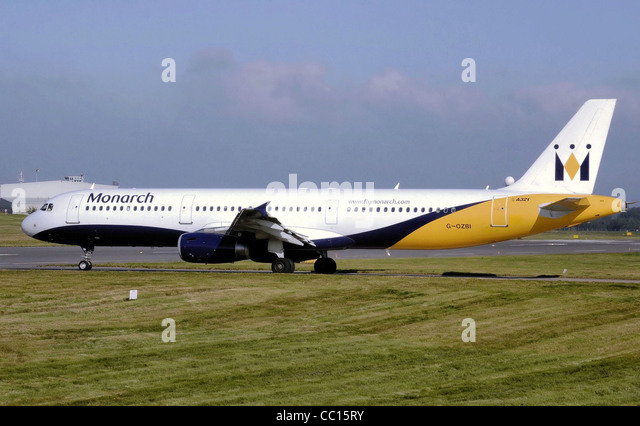 Monarch Airlines Airbus A321-200 (G-OZBI) taxiing to the take off point at Birmingham International Airport, Birmingham, - Stock Image