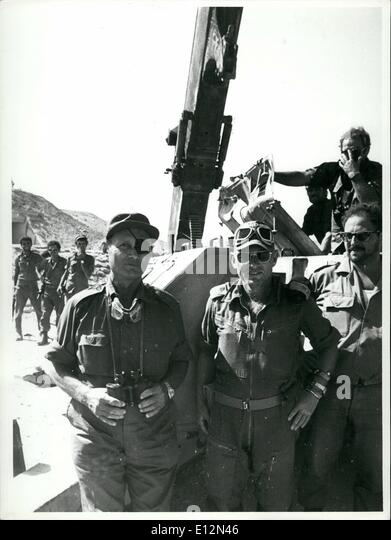 Feb. 24, 2012 - Yom Kippur War 1973: Moshe Dayan at the Sioi front with Gen. Adnan at captured SA-2 missile site - Stock Image