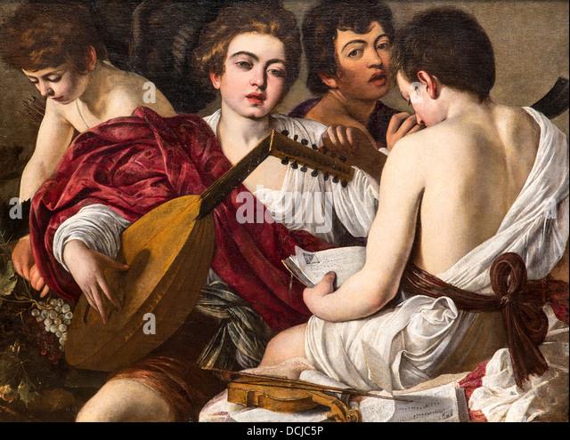 16th century  -  The Musicians, 1595 - Caravaggio Philippe Sauvan-Magnet / Active Museum - Stock Image
