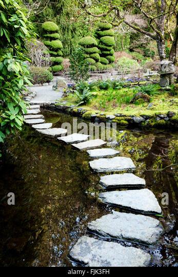 Garden stones victoria : Garden pond water stepping stones stock photos