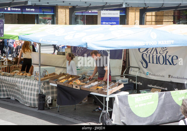 The Real Food Market, in front of King's Cross Station every Wednesday-Friday - Stock Image