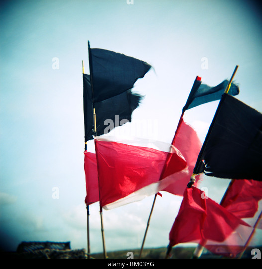 Red and blue flags blowing in strong wind - Stock Image