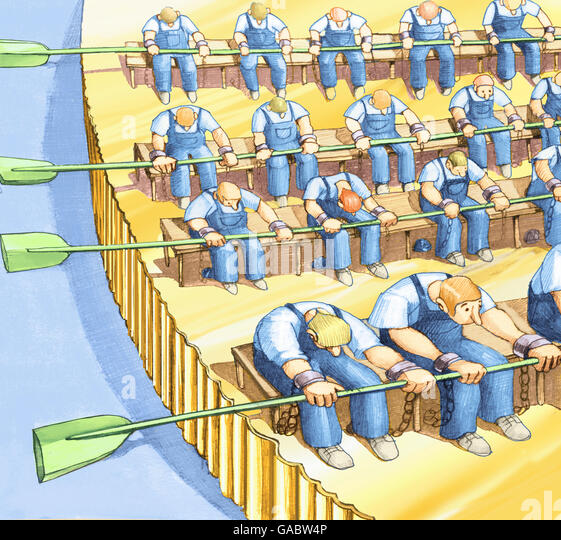boat becomes a coin pushed by workers to the chains - Stock-Bilder
