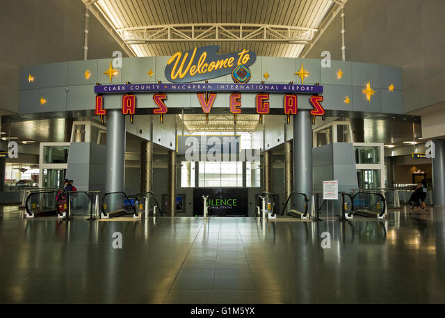 'Welcome to Las Vegas' sign in the McCarran International Airport in Clark County, Las Vegas, Nevada. - Stock Image