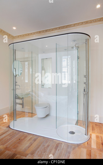 Freestanding shower and toilet unit in minimalist bathroom - Stock Image