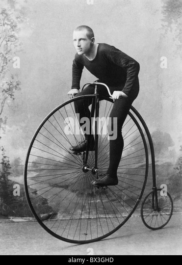 Vintage portrait photo circa 1891 of World Champion cyclist William Walker Martin on a penny-farthing bicycle. - Stock Image
