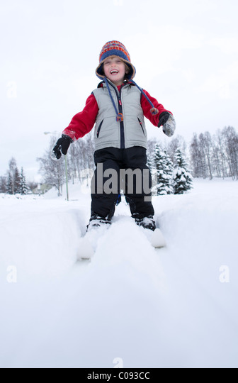 Preschool boy cross country skiing in Russian Jack Springs Park, Anchorage, Southcentral Alaska, Winter - Stock Image