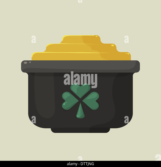 Stylized shiny cartoon pot of gold with a green shamrock - Stock-Bilder