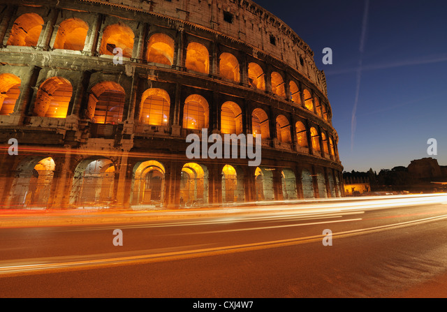 Europe, Italy, Rome, View of colosseum at night - Stock-Bilder